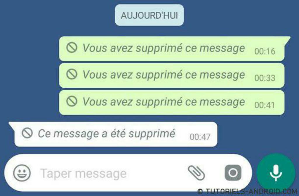 Supprimer message WhatsApp